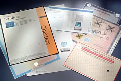 Certificate of authenticity security documents